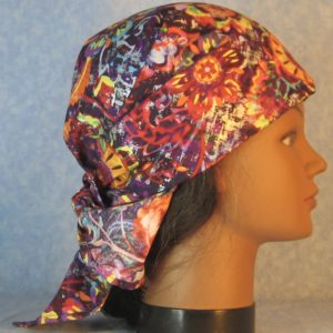 Head Wrap in Orange Yellow Green Rust Flower Folk on Purple With Silver-right