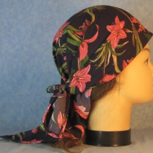 Head Wrap in Pink Lily Flower on Deep Purple-right