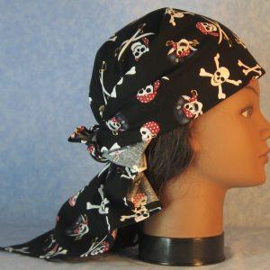 Head Wrap in Pirate Skull Crossbones on Black-right