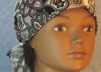 Head Wrap in Red White Black Gray Lined Flowers Paisley-front