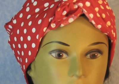 Head Wrap in White Polka Dots on Red-turban front