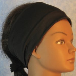 Headband in Black Moisture Management Tricot-right