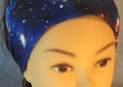 Headband in Blue Pink Purple Galaxy-front top