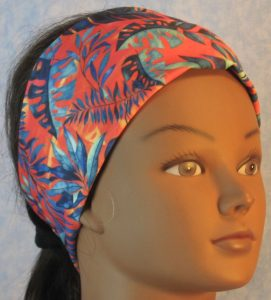 Headband in Green Blue Navy Palm Branches on Yellow Orange-front