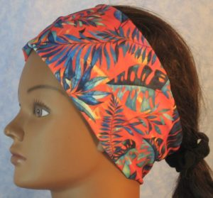 Headband in Green Blue Navy Palm Branches on Yellow Orange-left