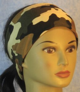Headband in Green Tan Brown Black Shiny Camo-front