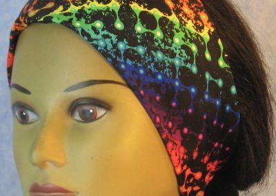 Headband in Rainbow on Black Light Row-front
