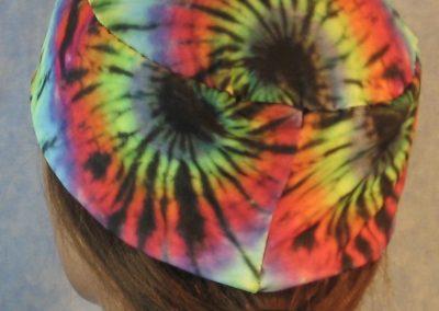 Skull Cap in Rainbow 60s Tie Dye Swirl-back