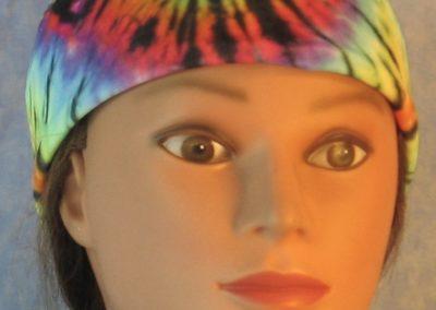 Skull Cap in Rainbow 60s Tie Dye Swirl-front
