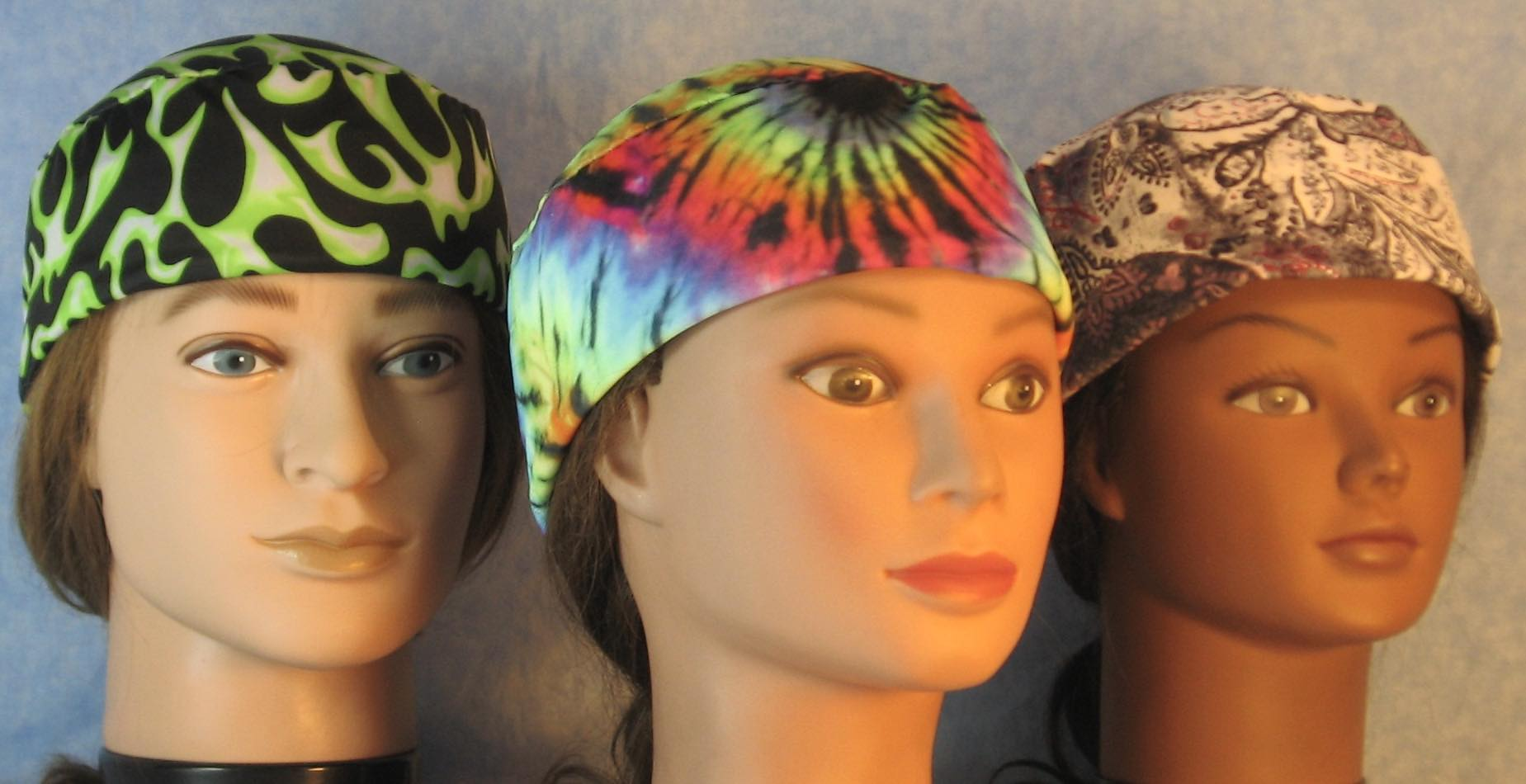 Skull Caps in Lime Flame+Ranbow Tie Dye+Pink Paisley Washed Out