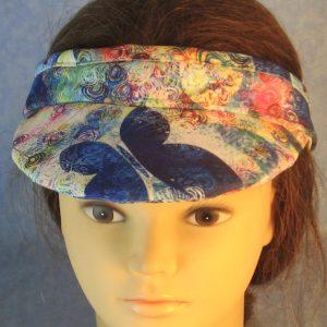 Visor in Blue Butterflies Swirl Pops-top