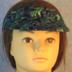Visor in Green Purple Blue Leaves Oak Maple on Navy-front
