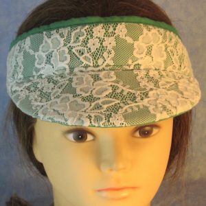 Visor in Green with Lace Overlay of Roses Flower Trails-top