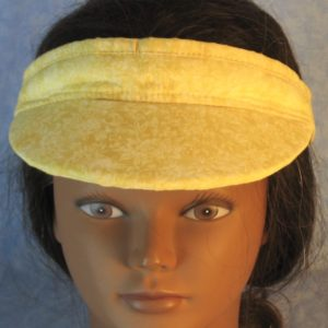 Visor in Pale Yellow Scroll Flower Imprint on Yellow-top