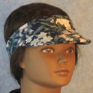 Visor in Pink Gray Blue Daffodil Tulip Flowers on Navy-right