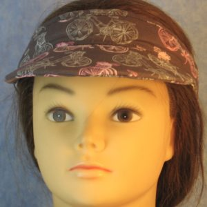 Visor in Pink Light Blue Bicycles on Gray-front