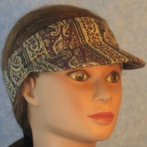 Visor in Plum Green Stripe with Brown Paisley-right