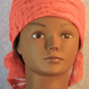 Head Wrap in Bold Orange Waves Lace-front