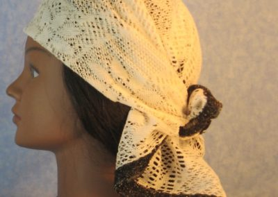 Head Wrap in Cream Flower Diamond Geometric Lace w Black Gold-left