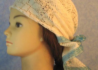 Head Wrap in Cream Flower Diamond Geometric Lace w Turquoise-left