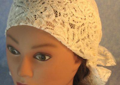 Head Wrap in Cream Flower Leaf Wide Lace-top