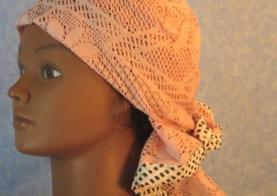 Head Wrap in Dusty Pink Flower Diamond Geometric Lace Black White Edge-left