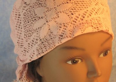 Head Wrap in Dusty Pink Flower Diamond Geometric Lace Black White Edge-top