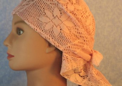 Head Wrap in Dusty Pink Flower Diamond Geometric Lace-left