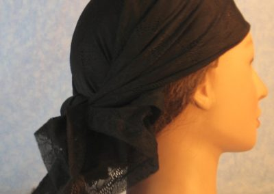Head Wrap in Orchid Flowers Black Lace-right