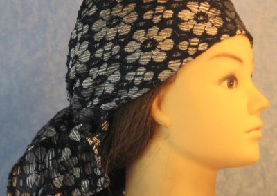 Head Wrap in Silver Flowers on Navy Lace-right
