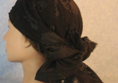 Head Wrap in Skull Crossbones Black Lace-left back