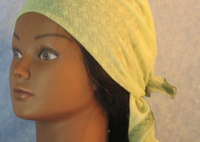 Head Wrap in Small Flower Dot Green Lace-left