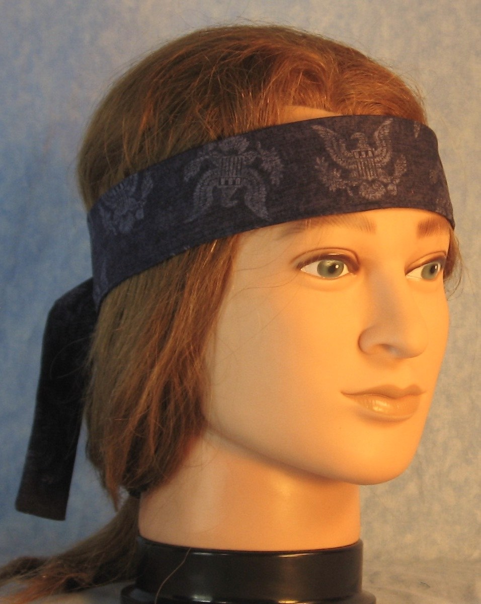 Sweatband in Eagle Figure on Navy-front right