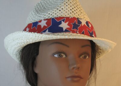 Fedora Band in Blue White Stars on Red-front
