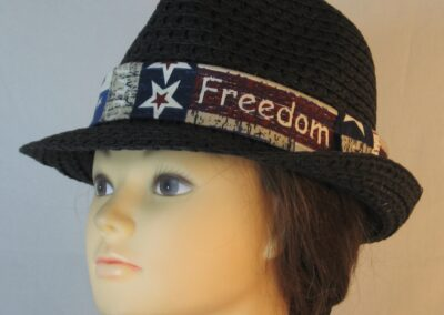 Fedora Band in Freedom Liberty Red White Blue Words-left