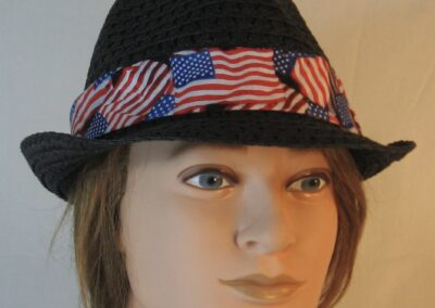 Fedora Band in Red White Blue Wavy Flag on Black-front