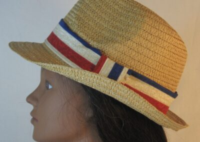 Fedora Band in Tan White Red Blue Stripe-left