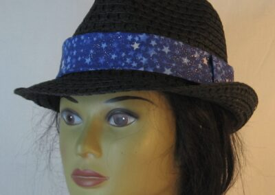 Fedora Band in White Light Blue Star on Royal Blue Sparkle-front