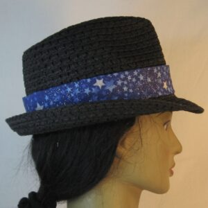 Fedora Band in White Light Blue Star on Royal Blue Sparkle-right