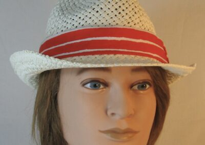 Fedora Band in White Stripe Marks on Red-front