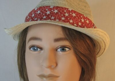 Fedora Band in White with Silver Stars on Red-front