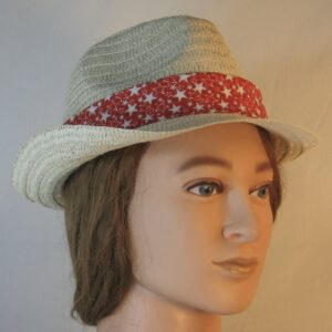 Fedora Band in White with Silver Stars on Red-right