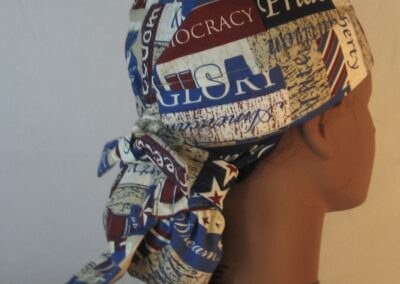 Hair Bag in Freedom Liberty Red White Blue Words-right