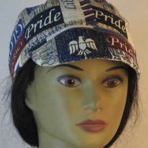 Welding Cap in Freedom Liberty Red White Blue Words-engineer front