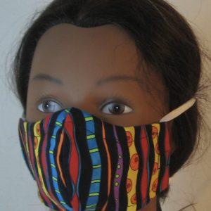 Face Mask Multi-color Black Stripe with Orange Donut-left