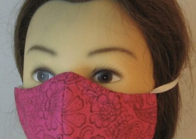 Face Mask Pink with Flower Paisley in Brown-front