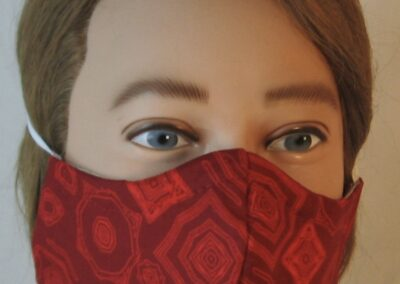 Face Mask Red Geometric Ripple Shapes-front