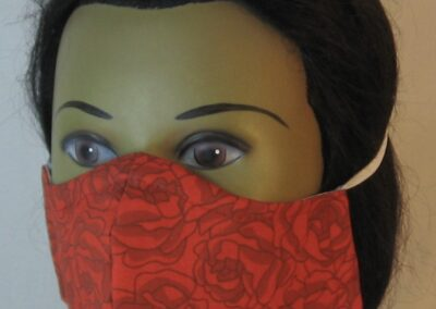 Face Mask Red Rose Gray Lined-left