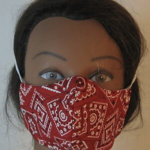 Face Mask Red with White Black Bandana-front