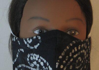 Face Mask White Black Dotted Swirl Batik-front